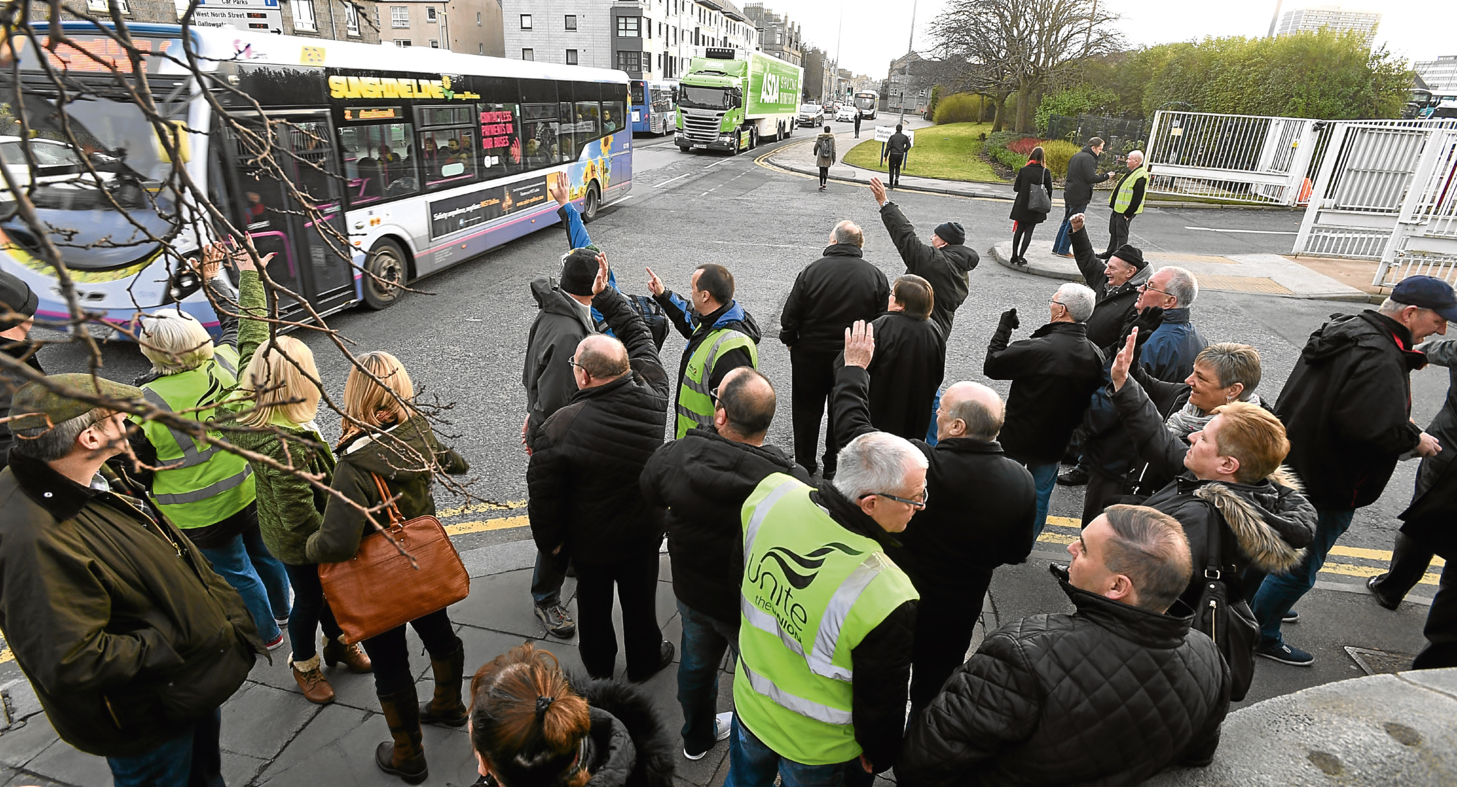 Bus drivers, their families and retired drivers protested about terms and conditions of new contracts earlier this year.