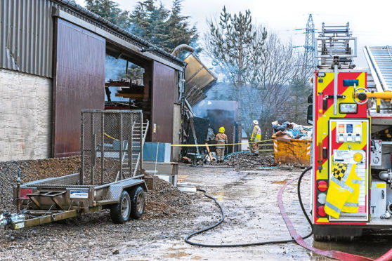 Firefighters at the workshop in Portsoy.