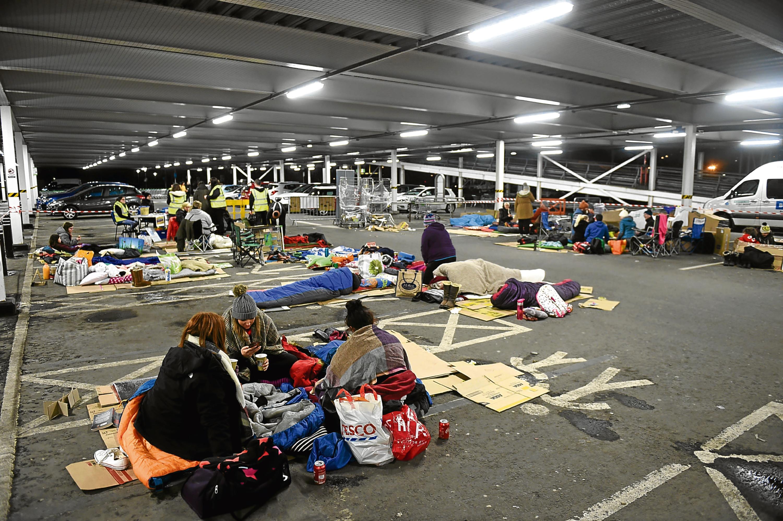Aberdeen Cyrenians sleepout at Asda, Bridge of Dee, Aberdeen.