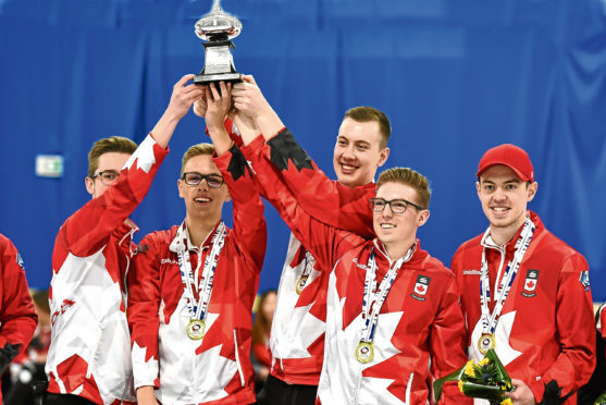 World Junior Curling Championships held at Aberdeen Curling. The Final - Mens - Scotland v. Canada - Canada won. Picture by COLIN RENNIE    March 10, 2018.