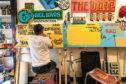 Artist Ciaran Globel in a sign painting workshop.