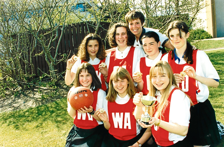 1994: Bridge of Don Academy seniors. Back, from left, Nichola Fraser, Julia Masson, Vicki Stephen and Angela Emslie, with coach Lynda Fraser. Front, Pamela Emslie, Fiona Emslie, captain Sarah Lemon.