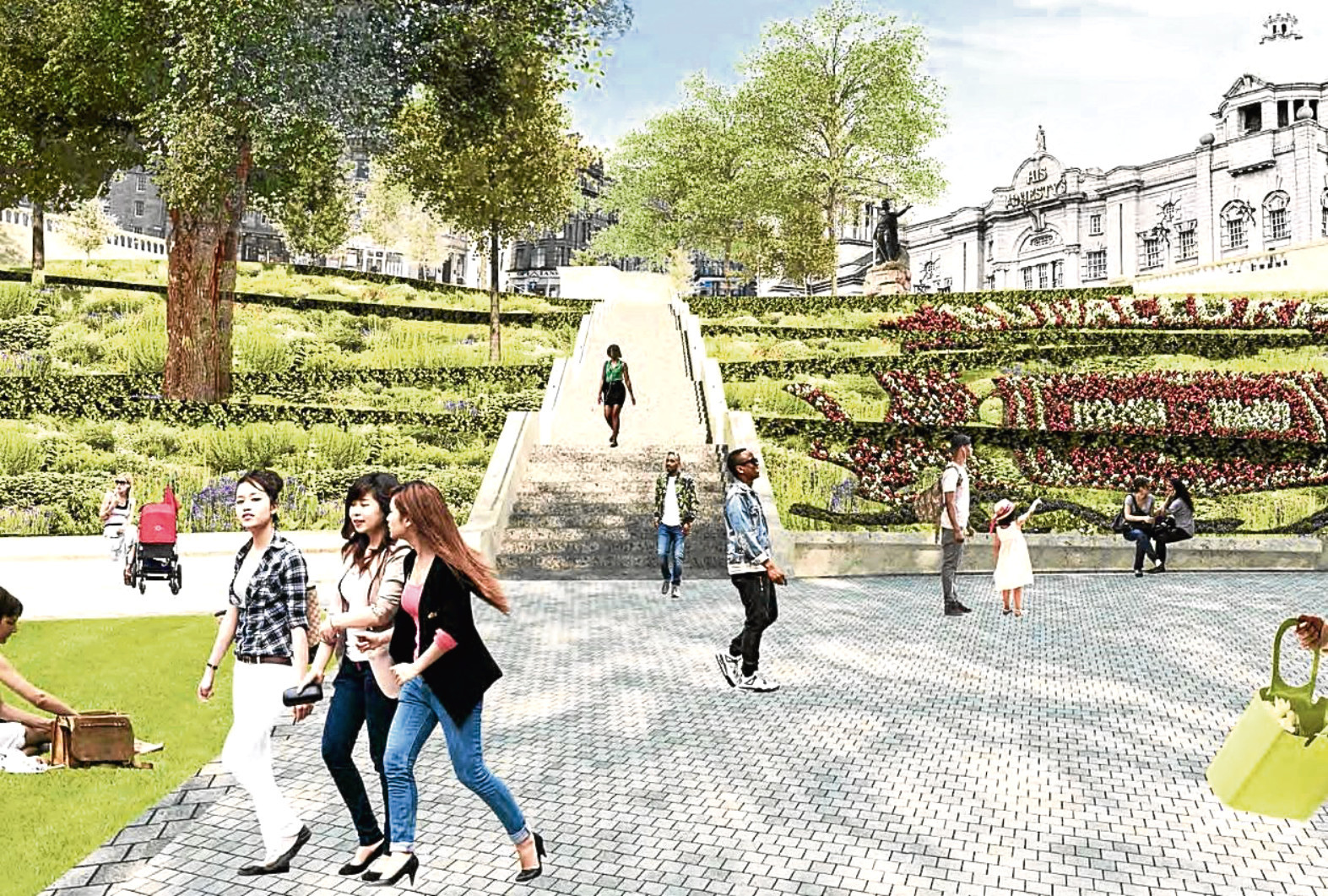 An artist impression of how Union Terrace Gardens could look