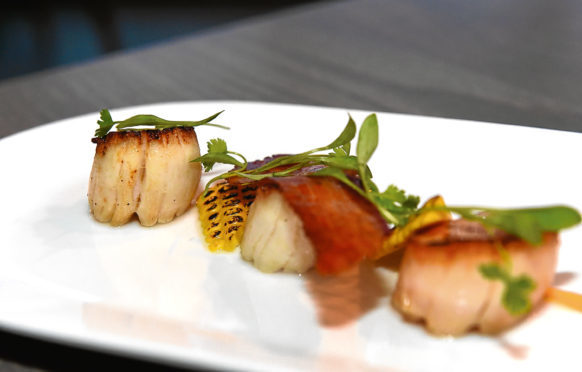 The seared Shetland scallops