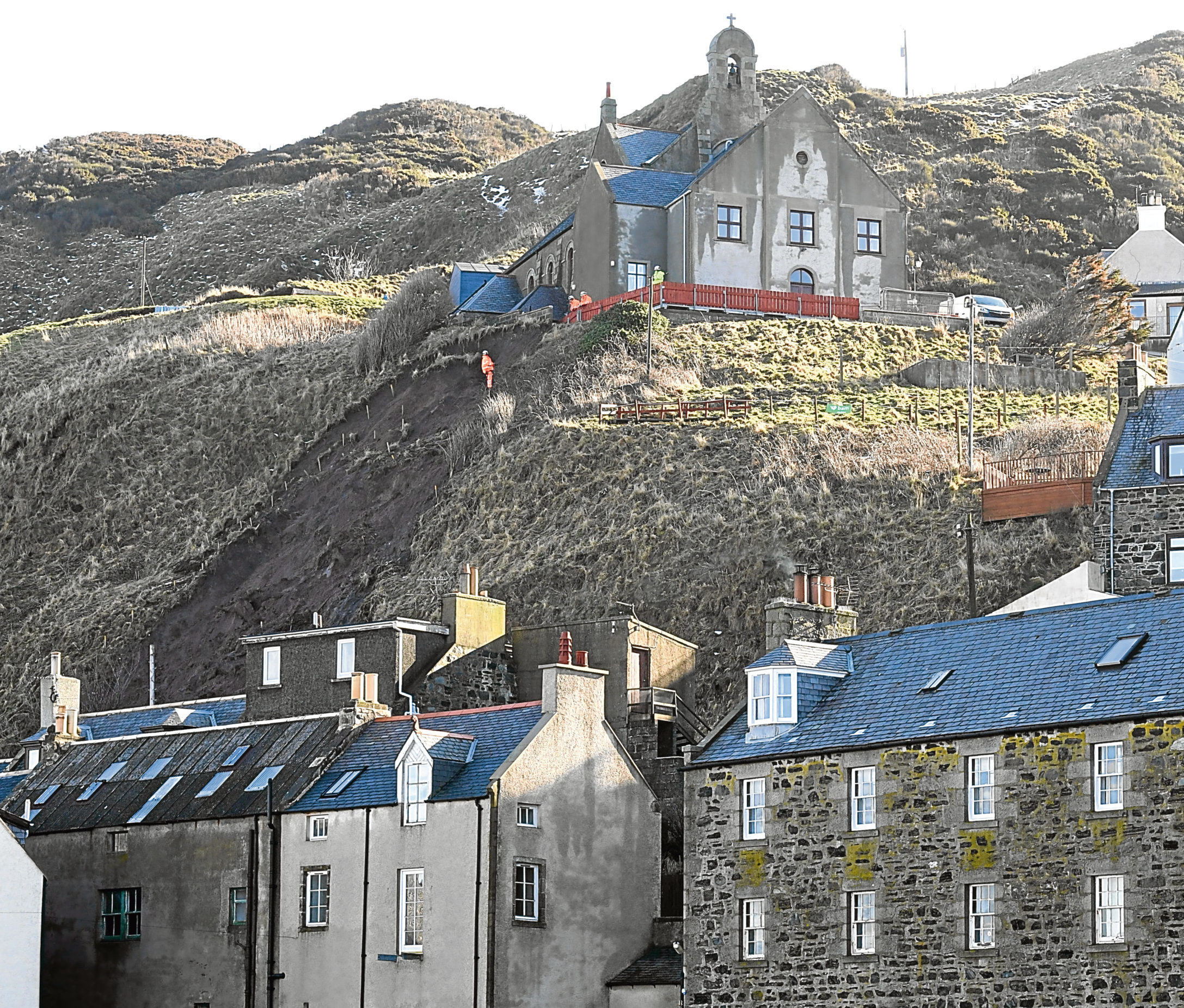 People living in the lower part of Gardenstown have been unable to access the top of the hill.