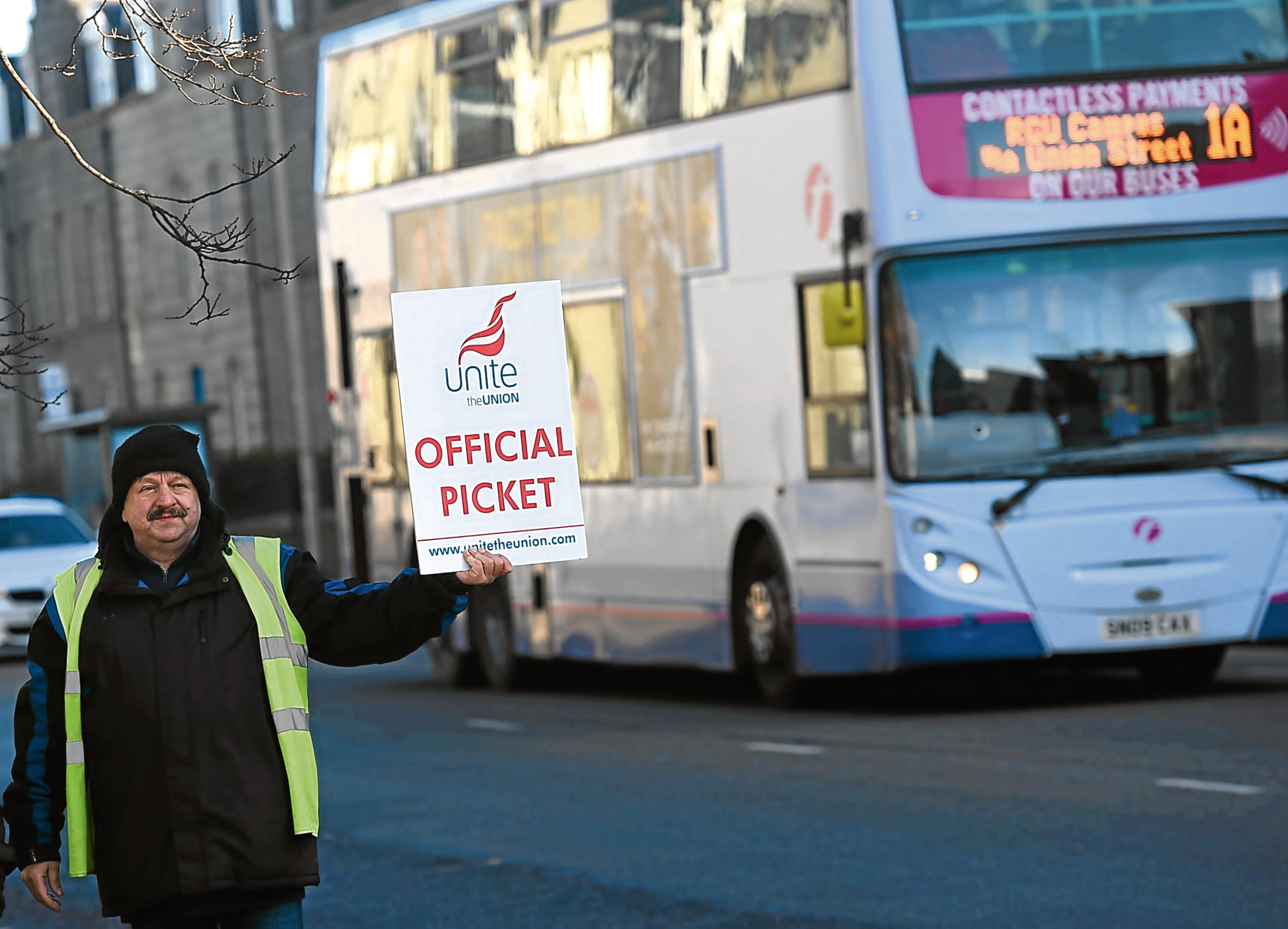 Bus drivers in Aberdeen were on strike last month in a dispute over contract changes
