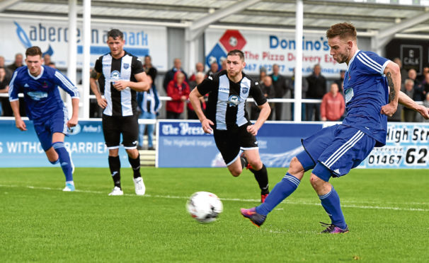 Mitch Megginson scores last time out against Fraserburgh.
