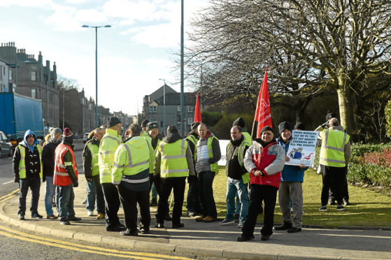 Drivers from First Bus Aberdeen who took strike action against the company outside the company depot.