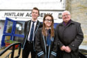 Cllr Norman Smith with Mintlaw Academy Head Boy Alastair Strachan and Deputy Head Girl Emily Findlay.