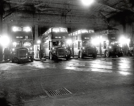 Corporation buses at the former militia barracks in 1961.