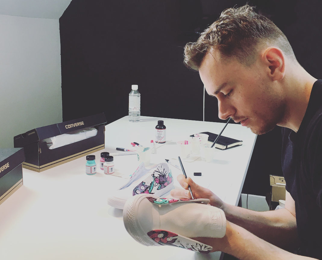 Conzo Throb will be customising trainers at Union Square on Sunday.