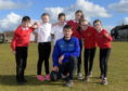 Robbie Simpson visited Westpark Primary School to promote running and the BHGE 10k Running Festivals Active Schools 2k Race.  Robbie is pictured with school pupils, from left, Lewis Moir, Aimee Cumming, Connor Raitt, Aalyah Wilkinson, Karin Watt and Sophie Imlach. Picture by Kath Flannery