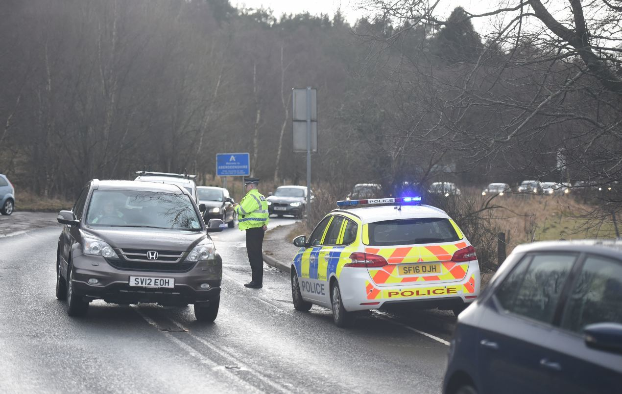Police at the scene on the A93