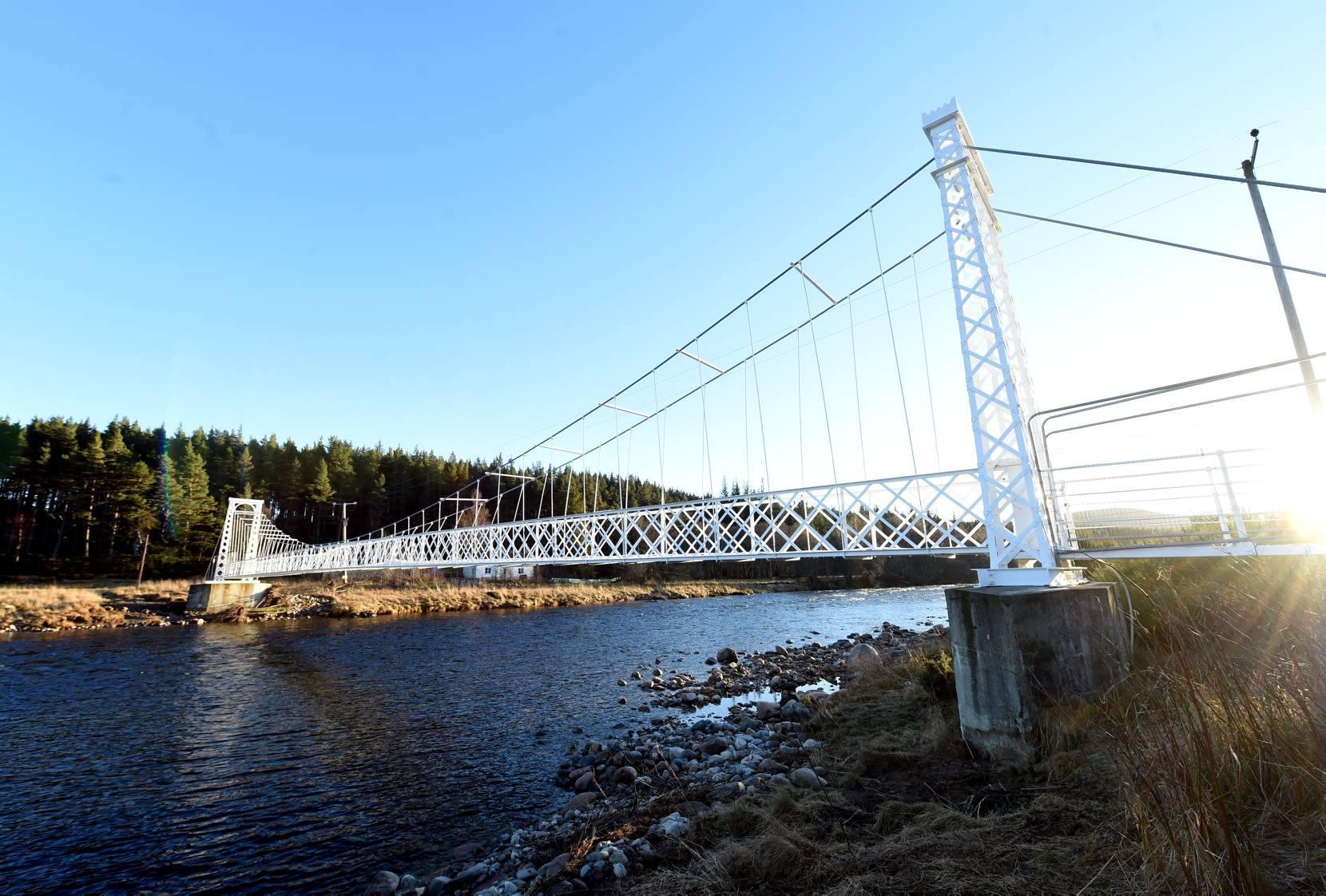 Polhollick footbridge at Bridge of Cairn, Ballater, as it looks now.