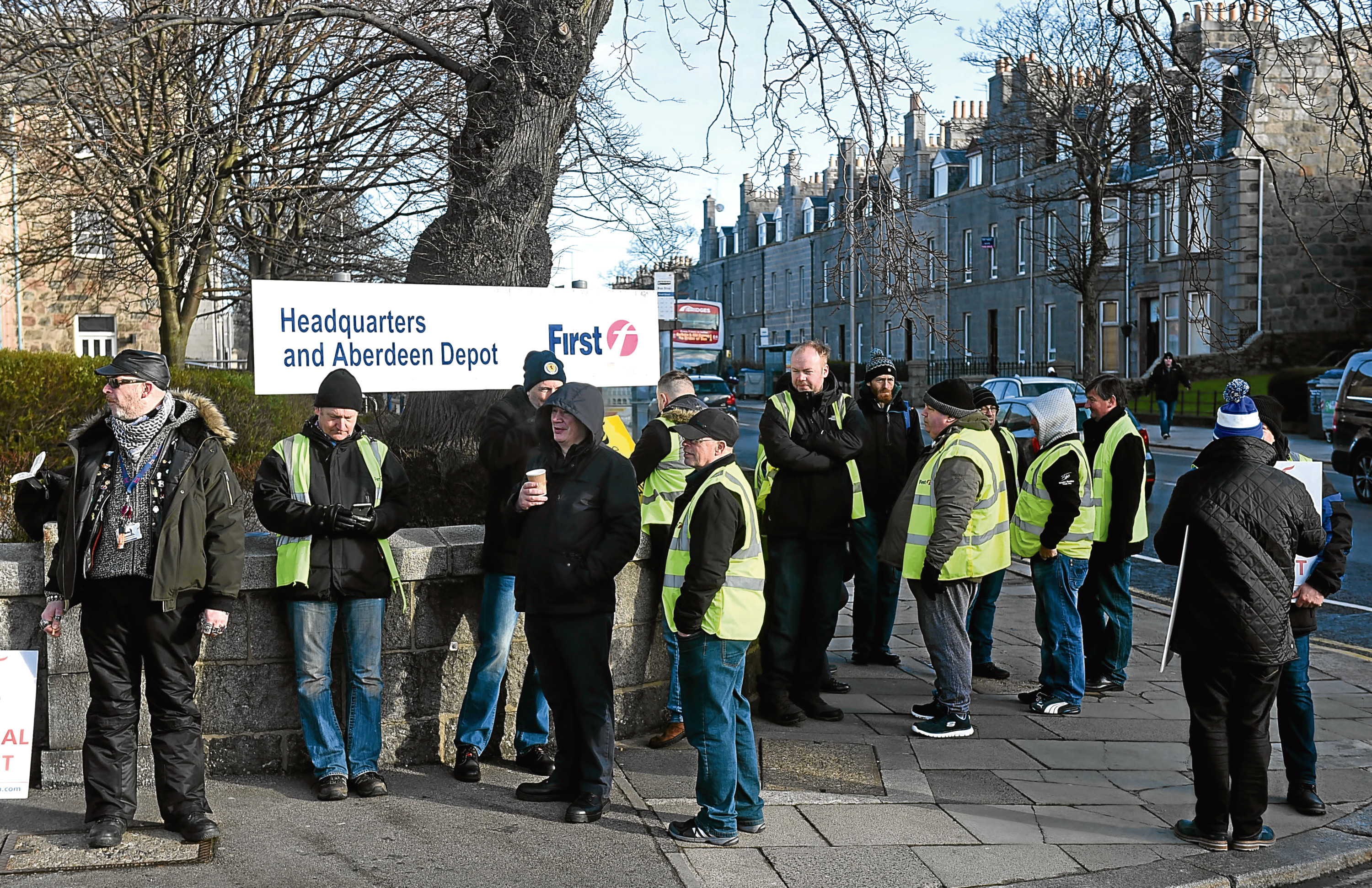 Staff from First Aberdeen outside the King Street HQ.