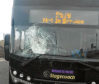 The traffic cone smashed the windscreen of the Stagecoach bus