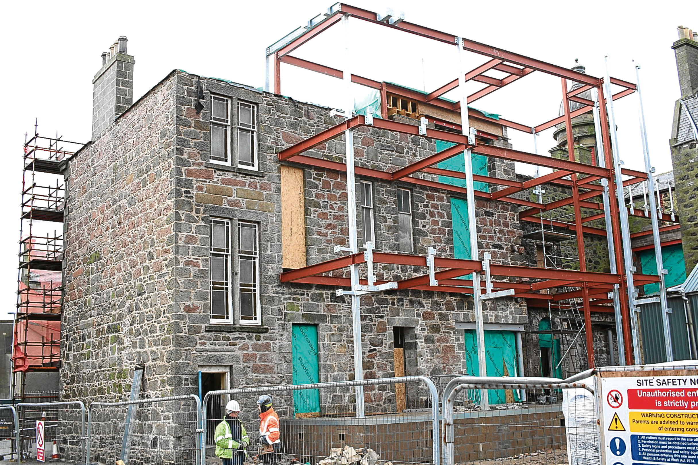Work has started on an extension to an old police station in Fraserburgh as part of a regeneration project.