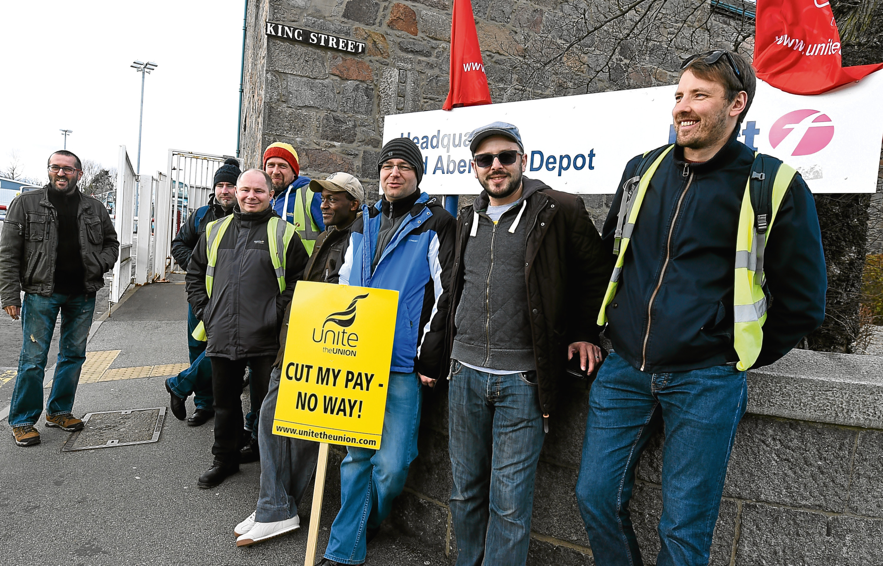 Striking drivers outside the First Aberdeen King Street depot.