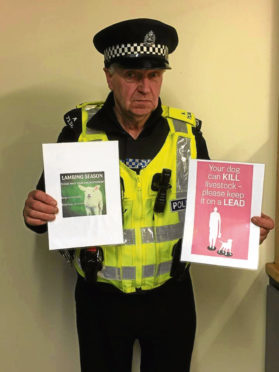 Special Constable Hugh Duncan, of Banff Community Policing Team, who attended a meeting of Portsoy and District Community Council on Wednesday talk about sheep worrying.