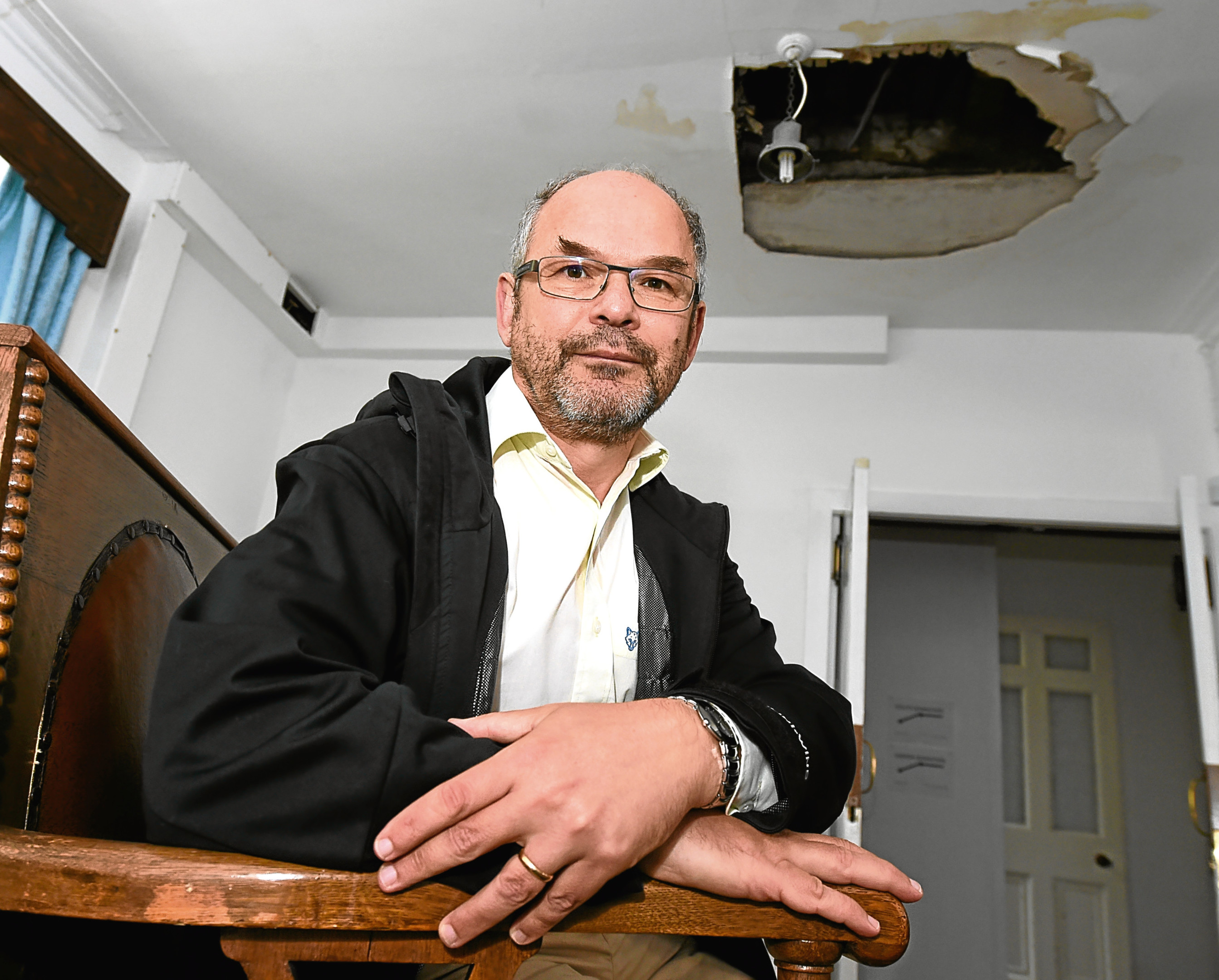 The washing machine flood caused havoc in the busiest month of the Jewish calendar. In the picture is Mark Taylor, president of Aberdeen Synagogue, Dee Street, Aberdeen.