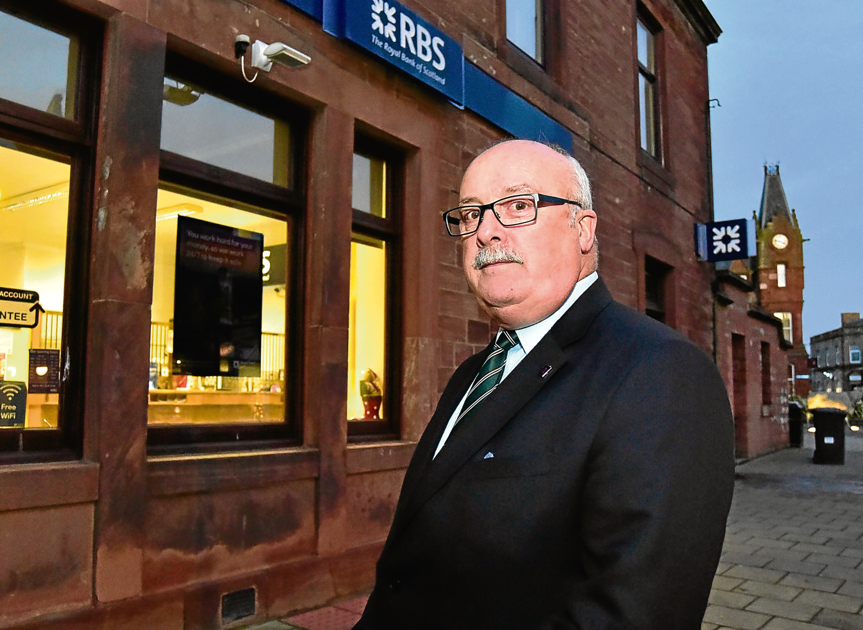 Councillor Alastair Forsyth at the RBS branch in Turriff