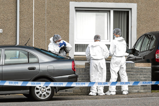 Fernie Place in Fraserburgh was closed off to the public.