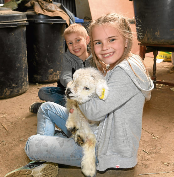 Jaydon and Paige Ellis with new lamb Daisy.