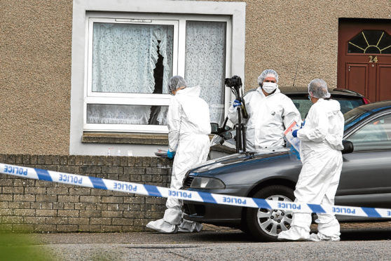 Police carry out an investigation at Fernie Place in Fraserburgh