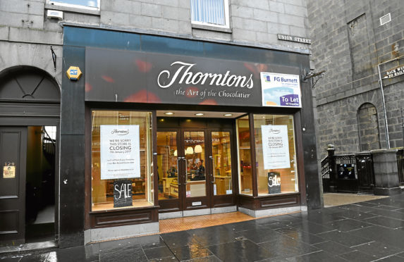 The former Thorntons store on Aberdeen's Union Street.