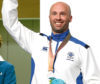 Neil Stirton of Scotland celebrates winning the silver medal during the men's 50m rifle prone final at the Belmont Shooting Centre during the 2018 Commonwealth Games in Brisbane, Australia.