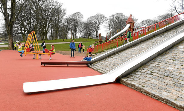 Swings and slides in Duthie Park