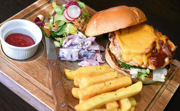 The delicious BBQ chicken melt burger