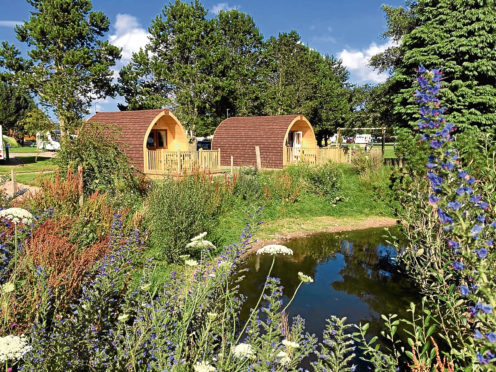 A selection of the outdoor camping pods at Deeside Holiday Park
