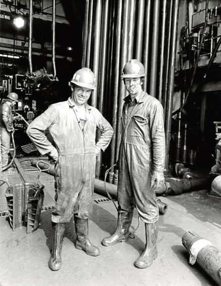 1983: Bill Collie and Colin Selby on the Oil Field Brae 'A' Drilling Deck.