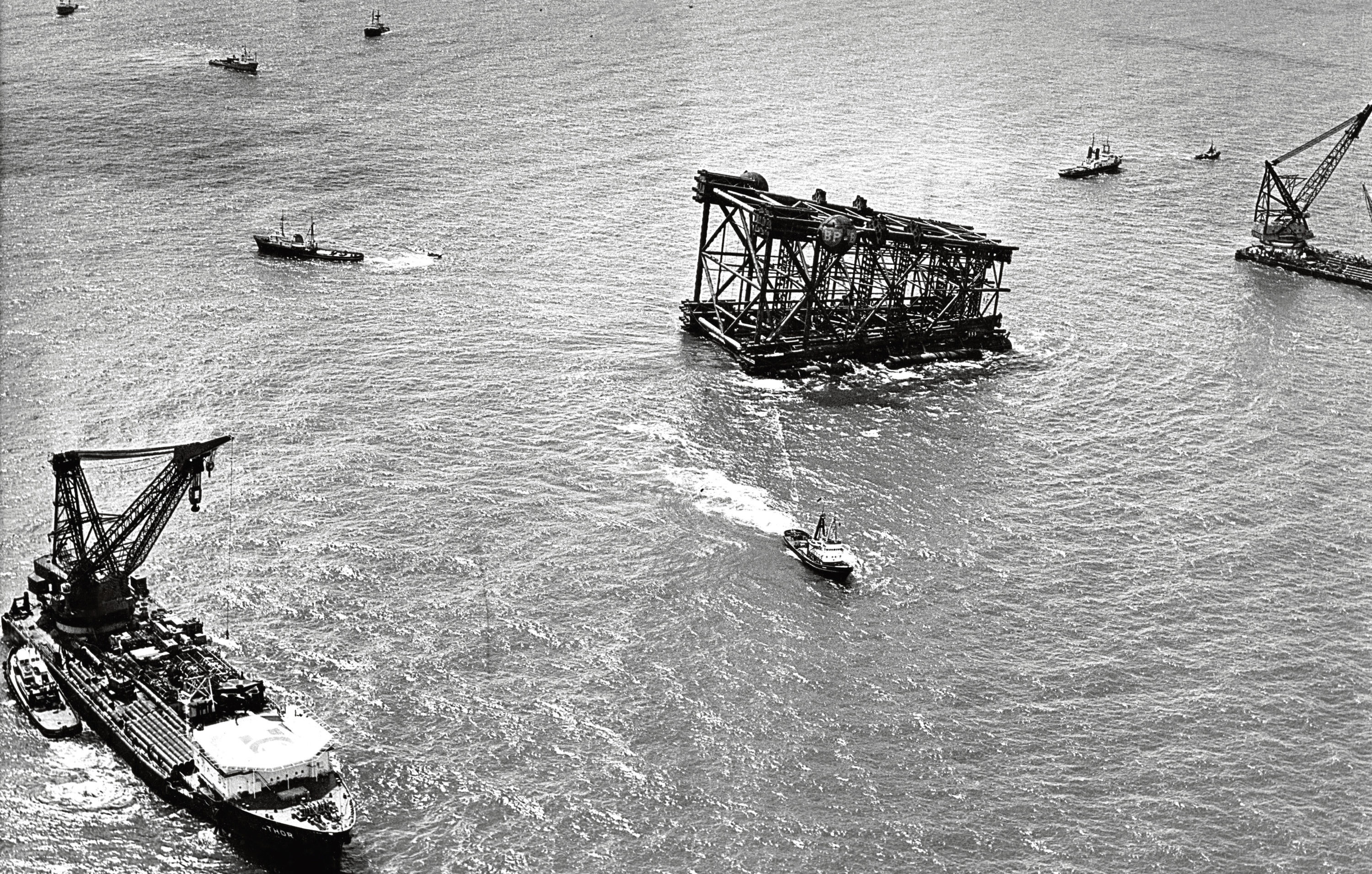 1974: The first North Sea oil platform, BP's Graythorpe One, tilts and submerges.
