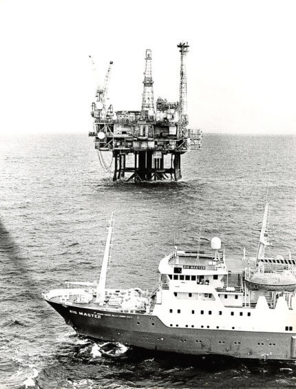 1983: standby vessel, Rig Master, anchored off one of the platforms in the BP Forties Field.