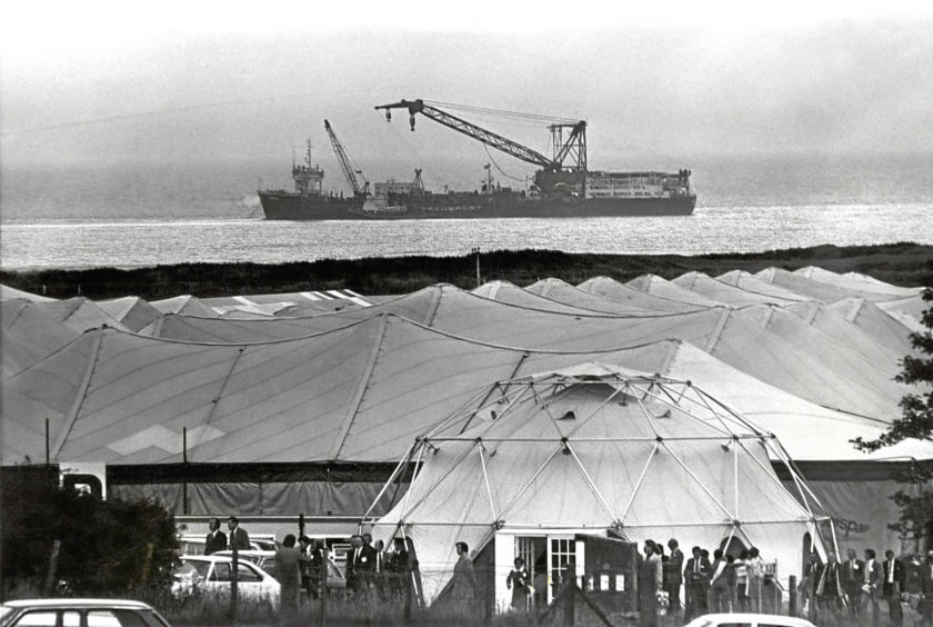 1975: Oil Offshore exhibition under canvas at the Bridge of Don, while lying off the coast is the drill barge Orca.