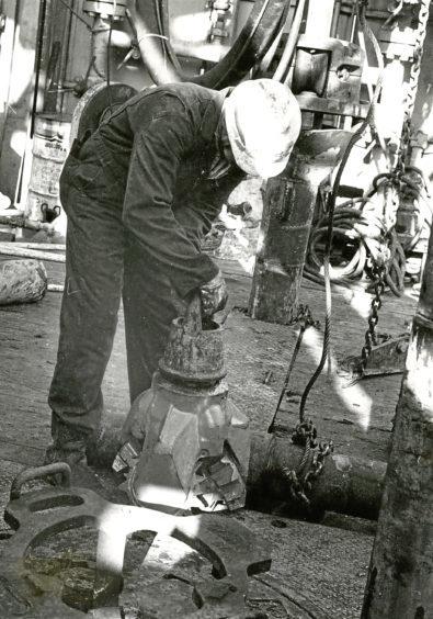 1973: An oil worker on BP Sea Quest.