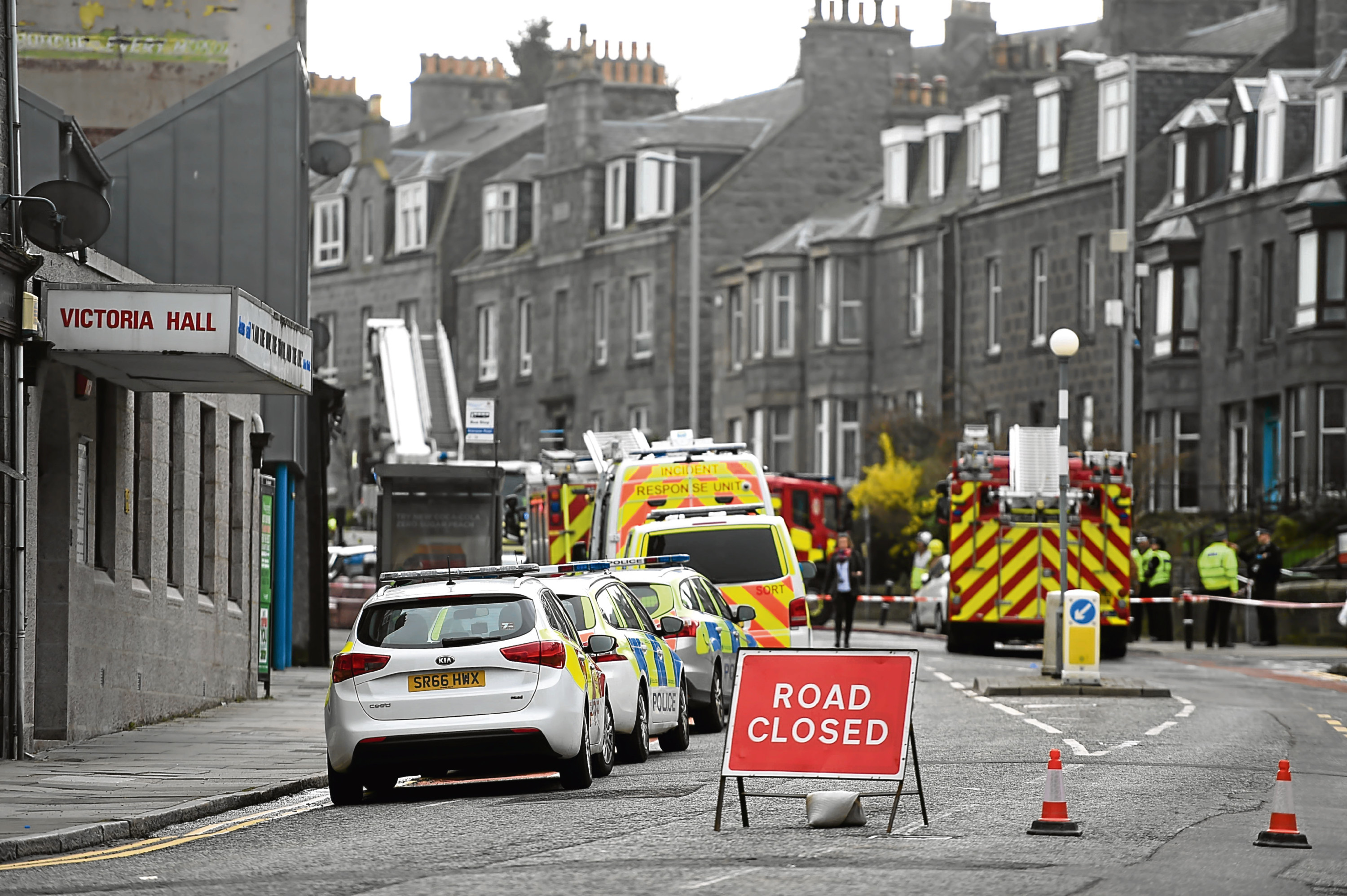 Firefighters at the blaze on Victoria Road, Torry.