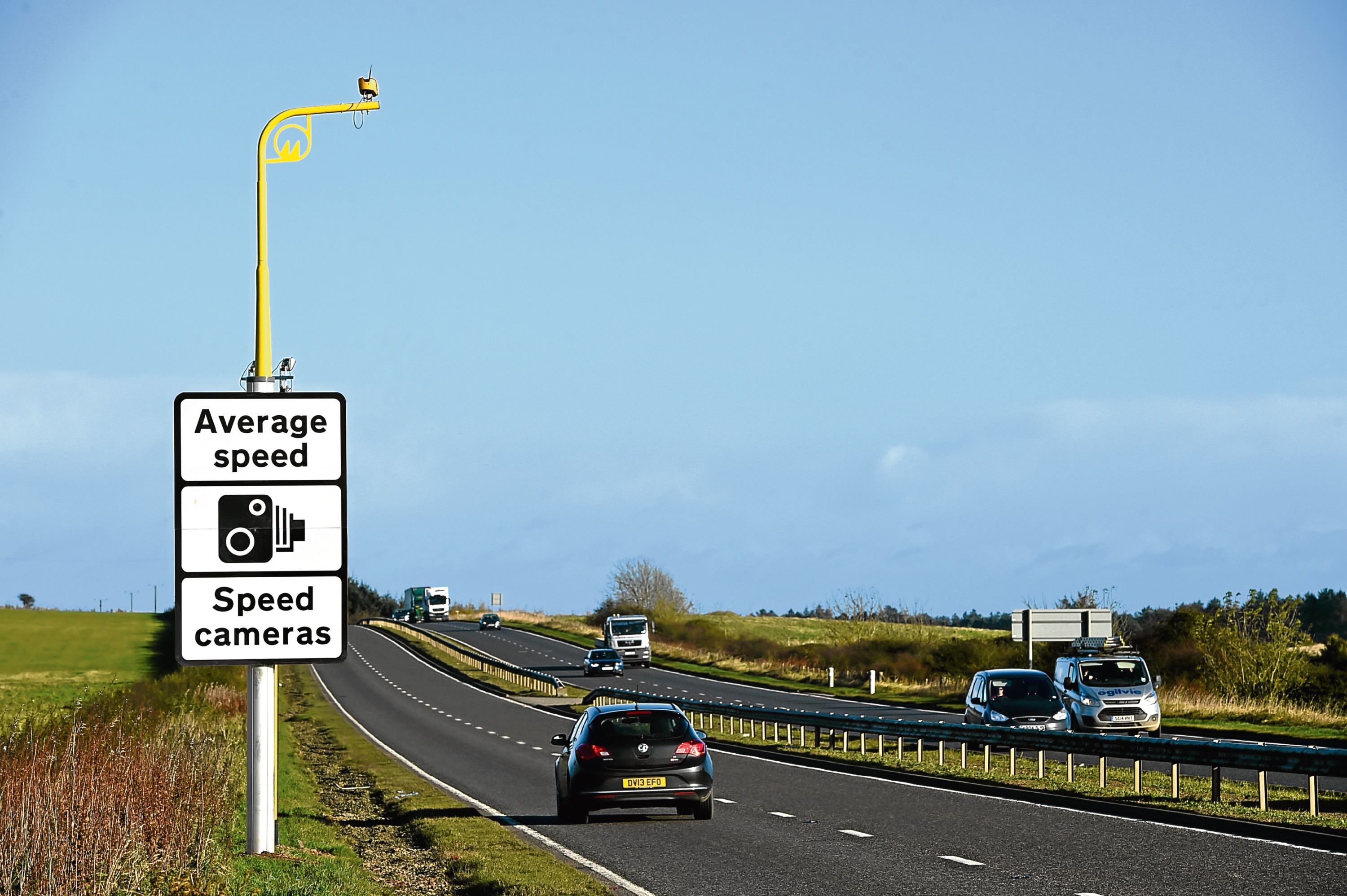 Average speed cameras on the A90 between Stonehaven and Dundee.