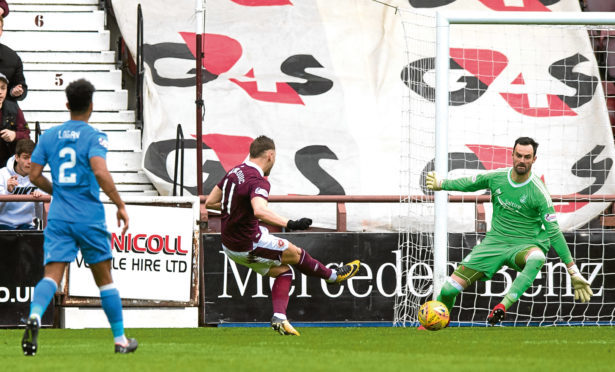 Hearts' David Milinkovic fires past Aberdeen goalkeeper Joe Lewis (right) to make it 2-0.