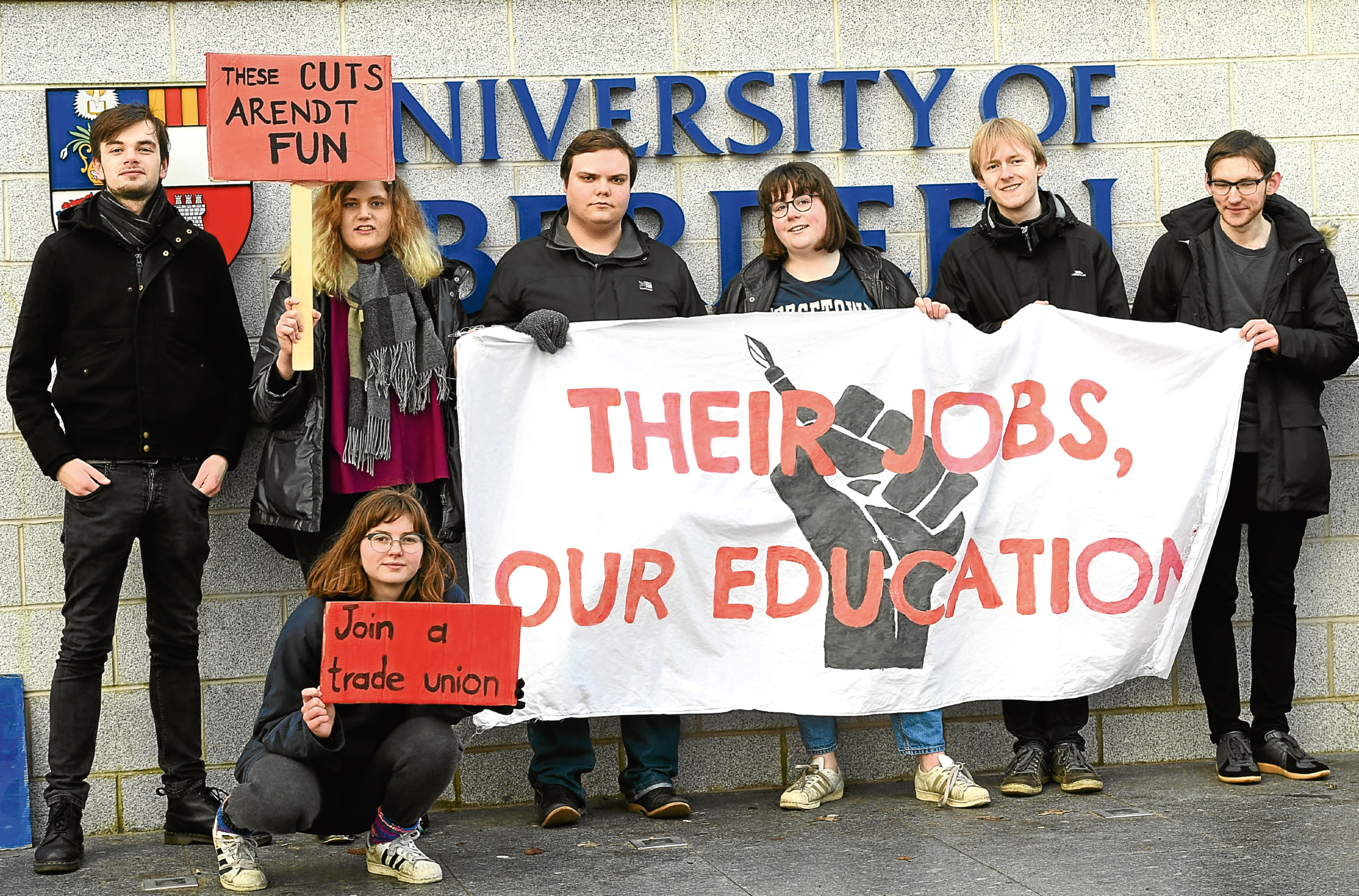 Lecturers supported by some students staged a protest at Aberdeen university.