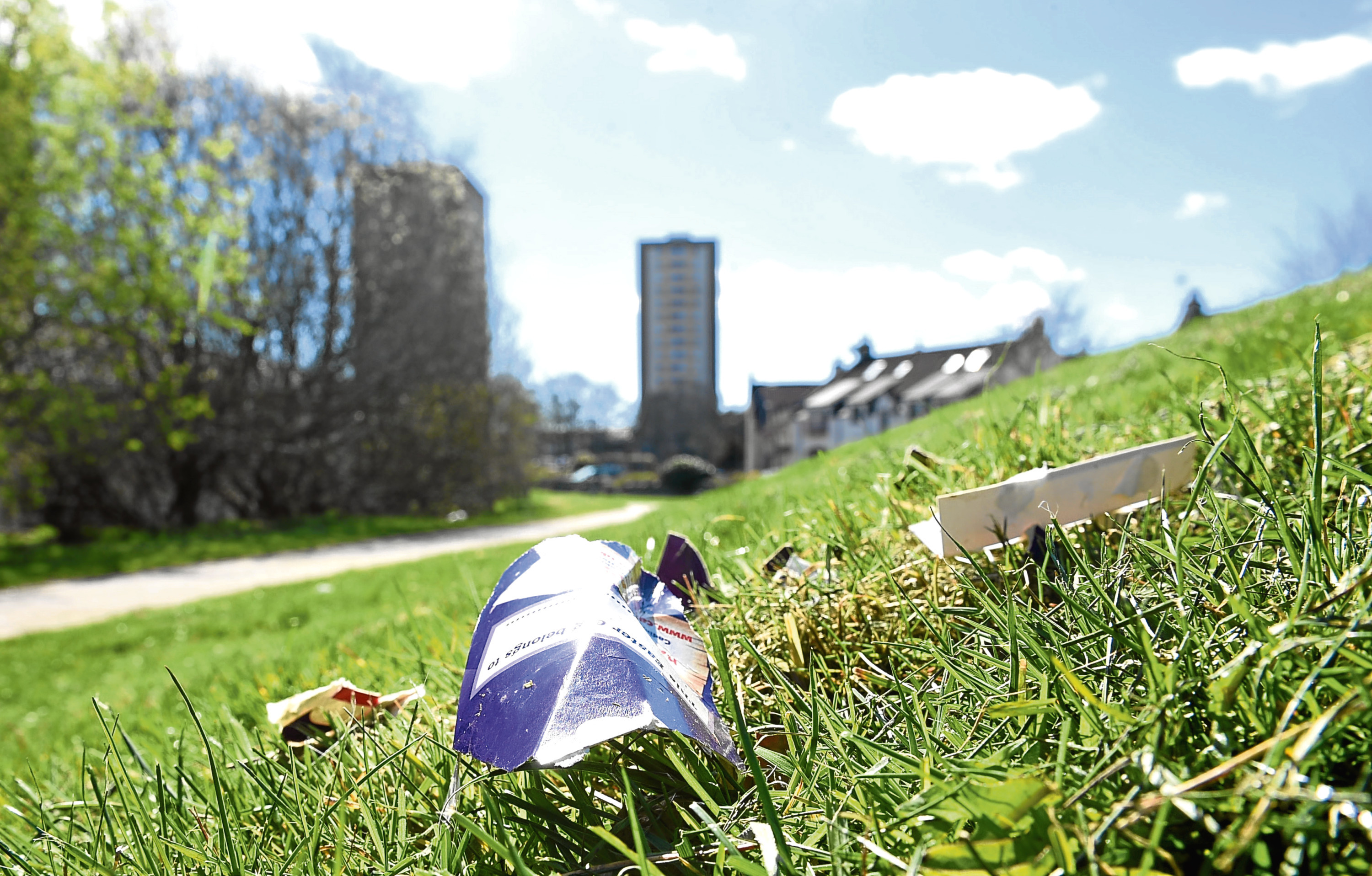 There has been a build up of litter near a path running behind Lidl in Old Aberdeen.