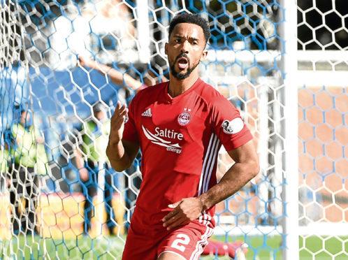 Shay Logan celebrates making it 2-0 against Kilmarnock.