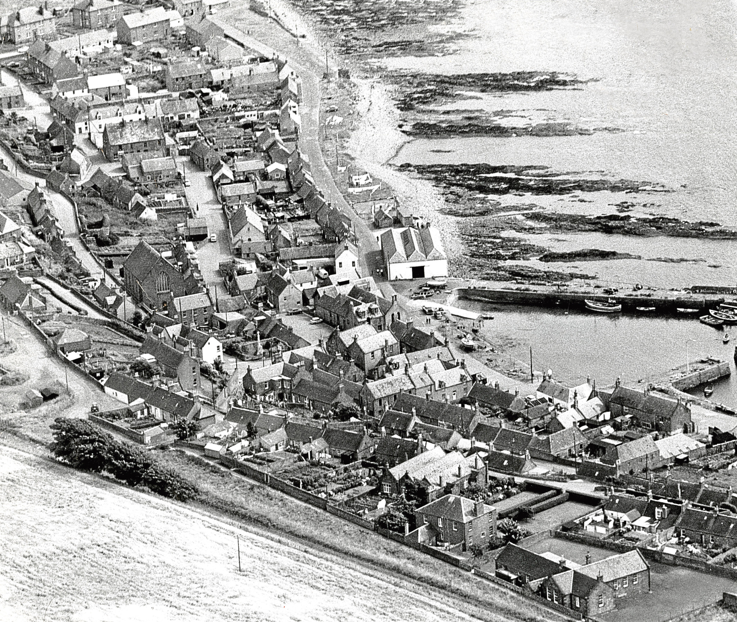 1968: An aerial view of the village of Johnshaven.