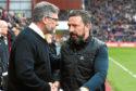 Hearts manager Craig Levein (left) with Aberdeen manager Derek McInnes