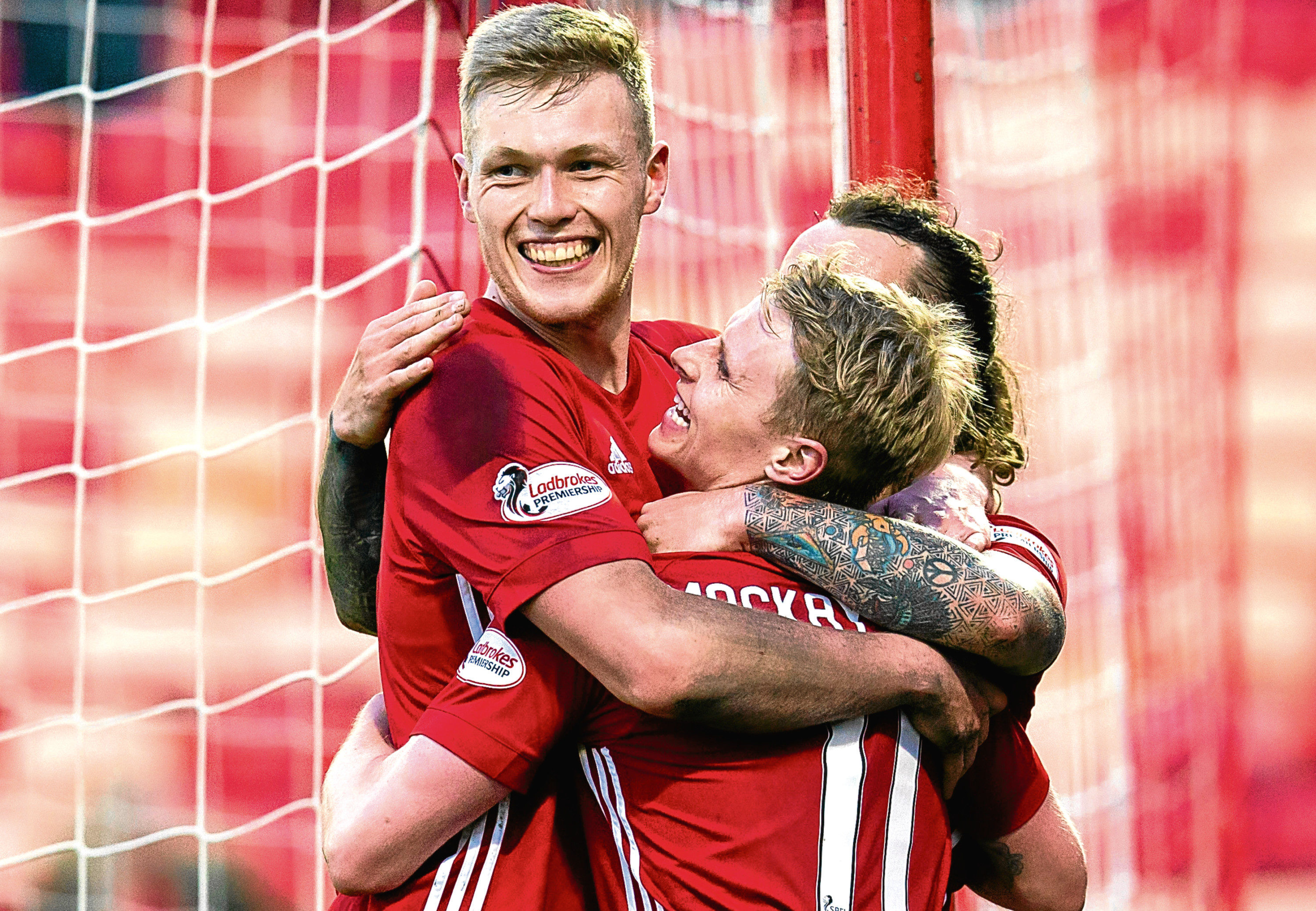 Aberdeen's Gary Mackay-Steven, right, celebrates his goal with team-mates.