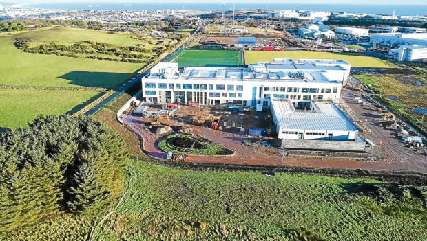 A drone image of Lochside Academy as it nears completion.