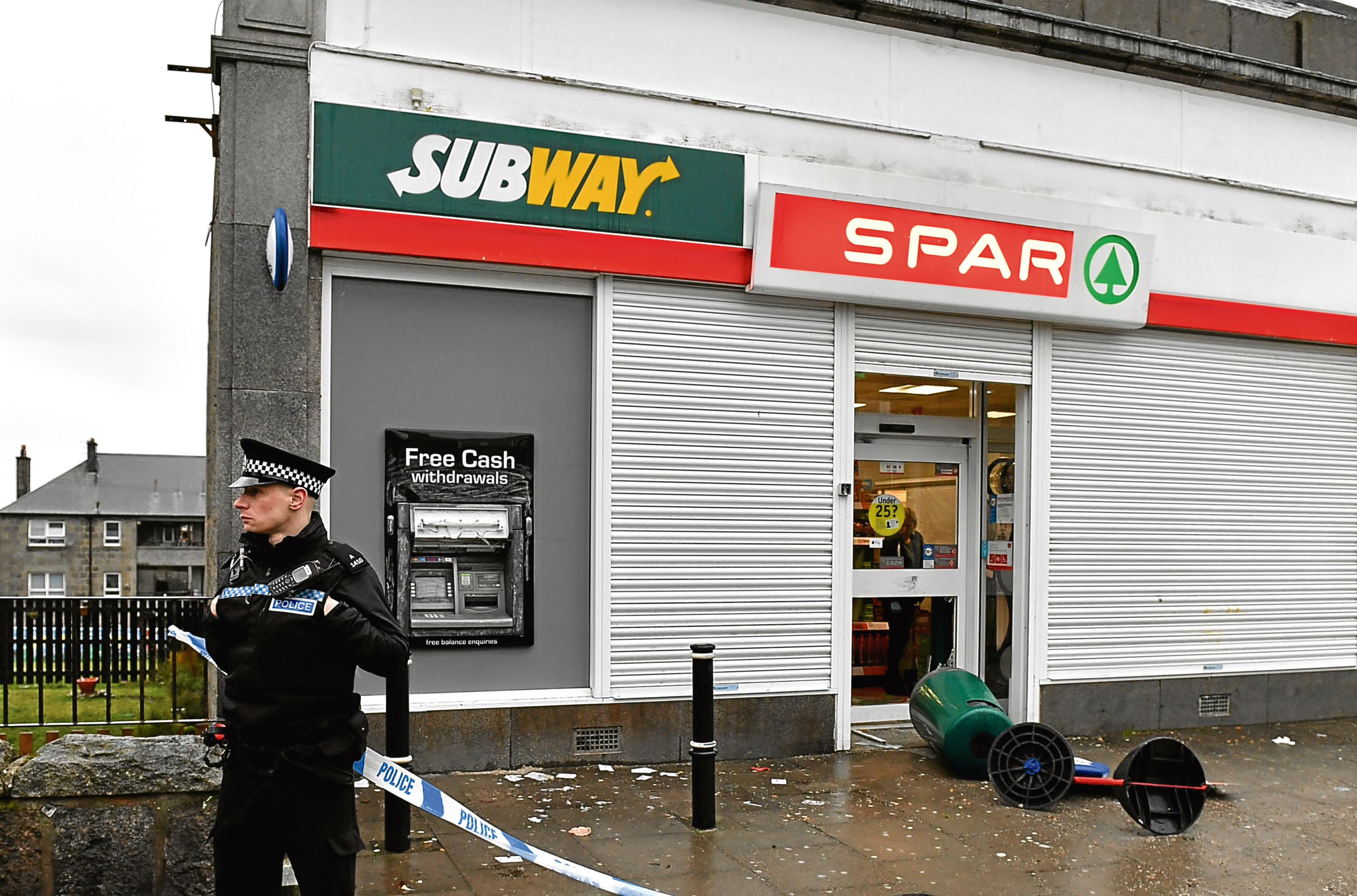 The ATM in Clifton Road which was damaged in the alleged raid.