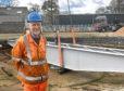 Jon Tyler, chairman of the Ferryhill Railway Heritage Trust next to the turntable.